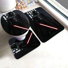 Star Wars Darth Vader Bath Mat Toilet Lid Cover Contour Rug Bathroom Set 3PCS