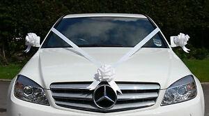 WHITE Wedding Car Decoration Kit Large Bows & 7 Metres of Ribbon FAST & FREEPOST