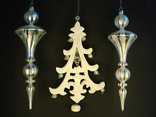 3 Ornaments Silver Clear Glass Spiral & White Wooden Christmas Tree Excellent