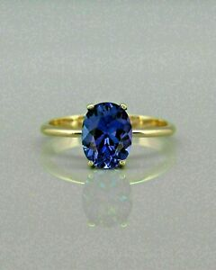 3Ct Oval Cut Blue Sapphire Solitaire Engagement Ring 14k Yellow Gold Finish
