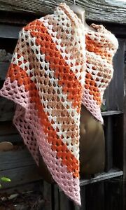 Vintage Hand Crochet Blanket/Shawl/Nursery/Picnics 127cm/140cm Coral Colours