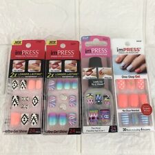 Kiss Impress Gel Manicure Press on Nails LOT OF 4 Aztec Multicolor Bright Fun