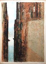 Génis René Lithographie signée peintre réalité poétique Venise Canaux