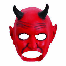 Mens Halloween Horror Mouth Free Red Devil Latex Mask Fancy Dress Accessory