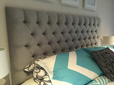 KING BED HEAD DIAMOND PLEATED BUTTONED UPHOLSTERED BEDHEAD / HEADBOARD FURNITURE