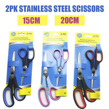 2PK Stainless Steel Scissors Soft Grip Household Craft Office Shears Sharp Cut