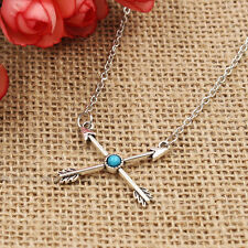 Gothic Love Cupid's Arrow Cross Women Silver Chain Turquoise Necklace Jewelry