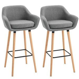 Modern Bar Chairs Set Compact Design Grey Cushioned Seat Low Back Dining Chair