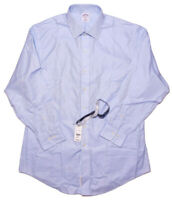 BROOKS BROTHERS Dress Shirt NON IRON Solid Blue 16.5 32/33 Slim Fit ~ New