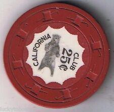 California Club Hotel Casino .25 Casino Chip Standing Bear 1960's Las Vegas