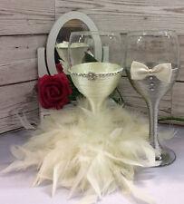 BRIDE and GROOM wine glass set Mr & Mrs Glasses Wedding Toast Ivory grey