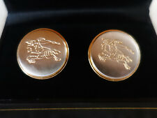 Burberry Brushed Nickle & Gold Cufflinks Large 21mm 7/8""