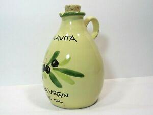 Olive Oil Jug Crock Cruet w Cork Stopper Hand Made in Italy Colavita