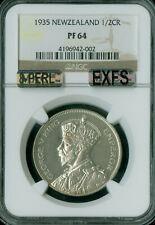 New listing 1935 New Zealand Half Crown Ngc Mac Pr-64 8-Perls Very Rare .
