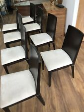 8 Dark Wood and White Faux Suede Dining Chairs
