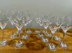 SET OF 14 Vintage Schott-Zwiesel Cut Crystal Wine Stem Glasses Two Sizes