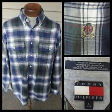 Vintage 90's Tommy Hilfiger Plaid Button Front Flag Logo Shirt Large Green Blue
