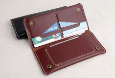 men women wallet purse cow Leather Bifold mobile iphone Holder bag brown z523