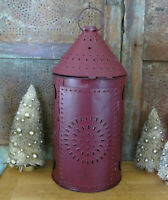 Paul Revere Lantern Metal Punched Tin Primitive Candle Holder Barn Red 14 1/2""
