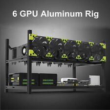 Professional 6gpu Aluminium stapelbar Open Air Mining Case Miner Frame Rig 5 Fans