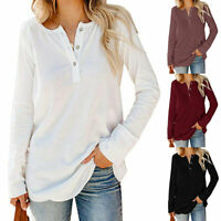 US Women Knit Sweater Pullover Casual Loose Long Sleeve Tunic Jumper Blouse Top