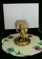 VINTAGE GOLD CHERUB ANGEL 2 SLOT LOVE LETTERS MAIL BUSINESS CARD HOLDER