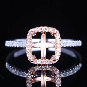 Sale 10K White/Rose Gold 7X6mm Cushion Cut Semi Mount Halo Engagement Fine Ring