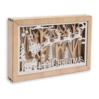 Christmas Wooden LED Light Up Festive Scene Reindeer Decoration Xmas Ornament