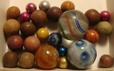 25 Vintage/Antique Marbles Handmade Clay Bennington Agate Glass Swirl Foil Nice