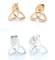 Triquetra Triple Knot Trinity Symbol Stud Post Earrings, Wiccan Pagan Wicca