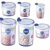 Lock & Lock Round Twist Lid Food Storage Plastic 100% Airtight Container Jar Box