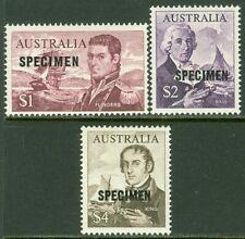 Edw1949Sell : Australia 1966-71 Scott #415-17 High Values Overprinted 'Specimen'