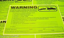 25 PACK MULTI-VIOLATION NO PARKING TOWING WARNING SIGN CAR WINDOW STICKERS