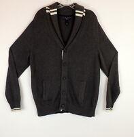 Club Room Mens L Cardigan Sweater Varsity Style Shawl Collar Pockets