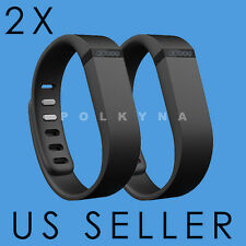 TWO LARGE BLACK BAND WITH CLASP (NO TRACKER) FOR FITBIT FLEX BAND BRACELET
