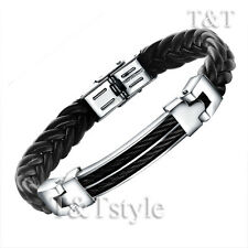 Top Quality T&T 316L Stainless Steel Black Wire Leather Bangle Bracelet (BR70)