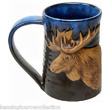 "MUGS - ""MAJESTIC MOOSE"" HANDMADE POTTERY MUG - BLUE/BLACK - 3/4 TANKARD - LODGE"