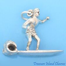 SURFER ON SURFBOARD WITH WAVE 3D .925 Solid Sterling Silver Charm