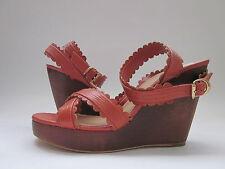 $365 NIB See by Chloe SB18097 Wedge Sandals Rust Women's 10
