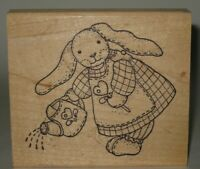 "Azadi Earles Rubber Stamp Bunny Rabbit Doll Watering Can Wood Mount 4.25""x3.75"""