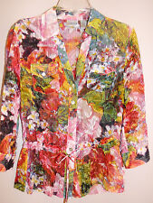 ** CHICOS **Pretty Floral  Sheer Silk Tie Waist Button Up Blouse Sz 0 (4 6 XS)