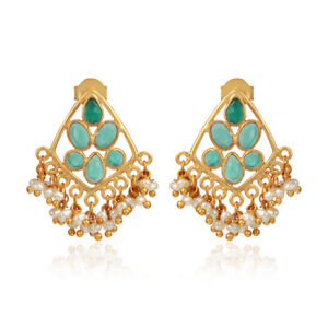 Green Onyx Pearl Beads Gemstone Women's Gold Plated Silver Earrings Jewelry