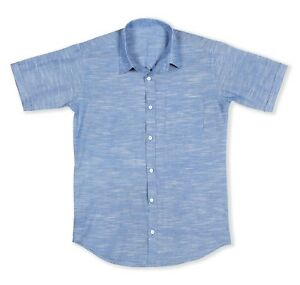 Blue Mens Summer Cotton Casual Dress Shirt Mens Solid Short Sleeve Shirts Tops