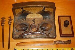 Vintage hand carved WOOD DESK SET with 2 ink wells,BLOTTER, letter opener Poland