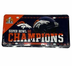 Denver Broncos Super Bowl 50 Champions Commemorative Metal NFL License Plate NEW