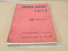 MANUALE ORIGINALE DATI 1973 ALFA ROMEO GIULIA SPIDER JUNIOR 1300 1600