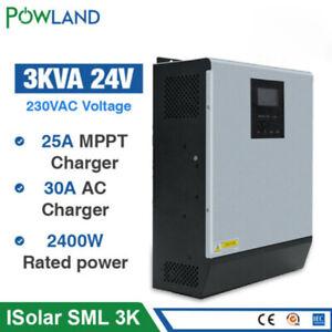 3000W Solar Inverter 2400W 24V Hybrid Inverter Pure Sine Wave 25A MPPT Charger