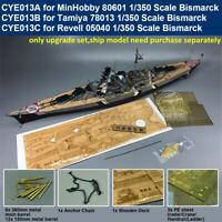 Super Upgrade for 1:350 Scale Bismarck Model Kit ( Wooden Deck Brass Barrel PE )