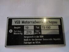 Nameplate IFA VEB GDR Zschopau MZ TS150 TS 150 S25