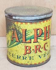 Ancienne boite métal vide Beurre Végétal Alpha B.R.C Marseille Roberty & Co 1920
